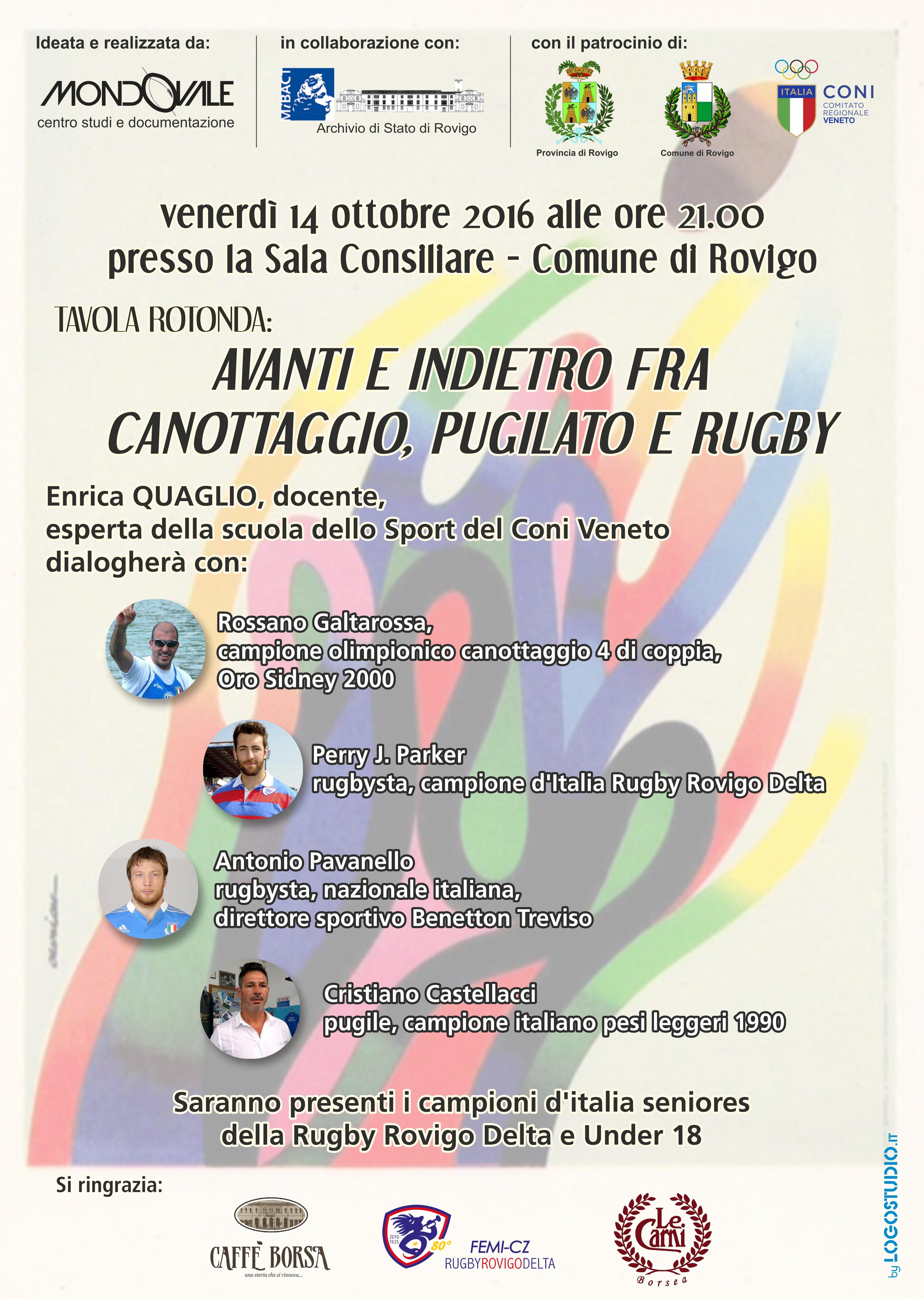 """Evento: """"Avanti e indietro fra canottaggio, pugilato e rugby"""" – Venerdì 14 ottobre 2016 ore 21.00"""